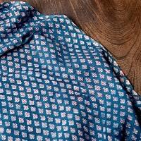 〔90cm切り売り〕インディゴブルーの伝統泥染め布 - ボタニカル柄〔幅約111cm〕