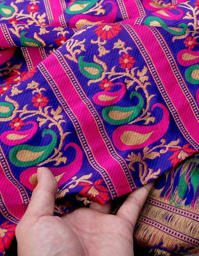 〔1m切り売り〕インドのゴージャス刺繍伝統模様布〔113cm〕 - パープル系の写真4 - フチの写真です