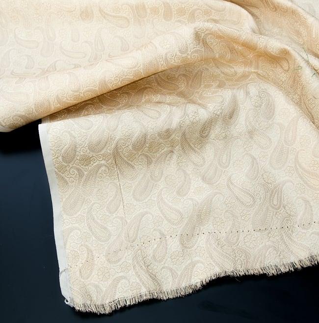 〔1m切り売り〕インドの伝統模様布〔111cm〕 - シャンパンゴールドの写真2 - 拡大写真です。独特な雰囲気があります。