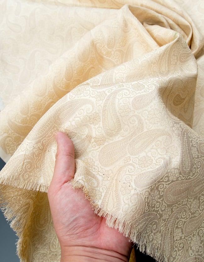 〔1m切り売り〕インドの伝統模様布〔111cm〕 - シャンパンゴールドの写真4 - フチの写真です