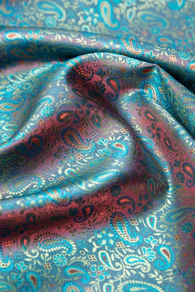 〔1m切り売り〕インドの伝統模様布 ピンク&水色〔幅約113cm〕の写真