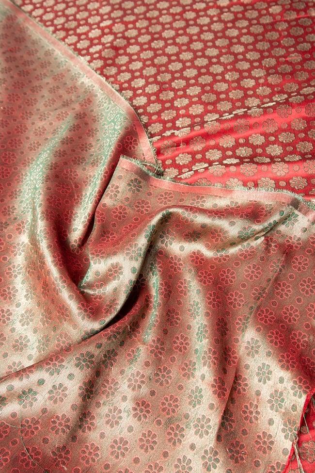 〔1m切り売り〕インドの伝統模様布 パープル・ピンク&フラワー〔幅約115cm〕 6 - 裏地はこのようになっています。