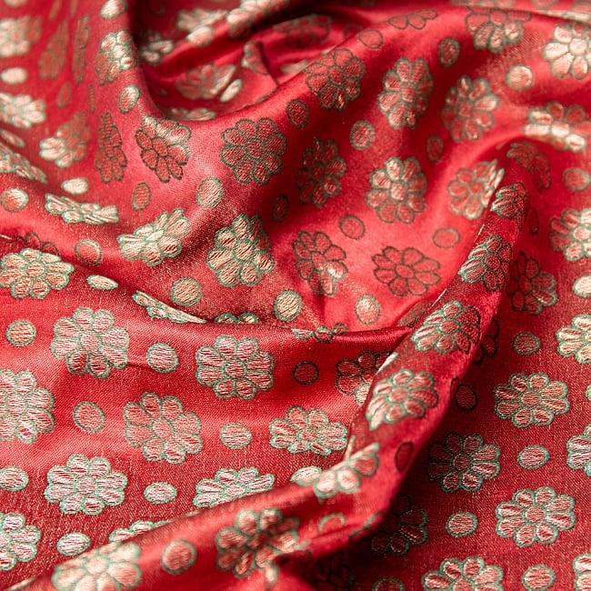 〔1m切り売り〕インドの伝統模様布 パープル・ピンク&フラワー〔幅約115cm〕の写真