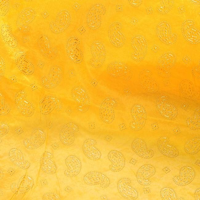 〔1m切り売り〕インドのエンボスペイズリー模様布〔各色あり〕 8 - 選択:B イエロー系