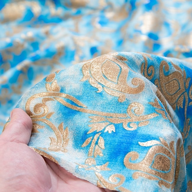 〔1m切り売り〕タイダイ色彩生地とつる草模様布〔各色あり〕 6 - 生地の拡大です