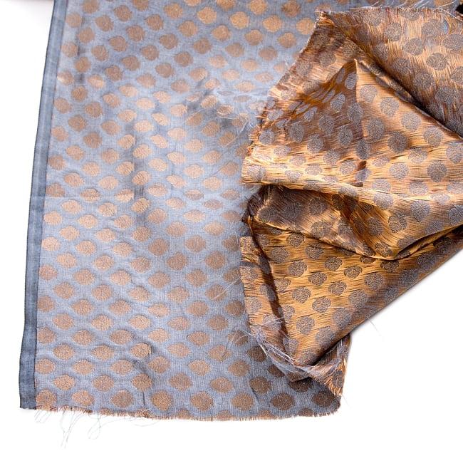 〔1m切り売り〕インドの伝統模様布〔幅約108cm〕 - グレー 5 - フチの写真です