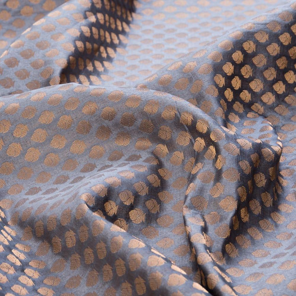 〔1m切り売り〕インドの伝統模様布〔幅約108cm〕 - グレーの写真