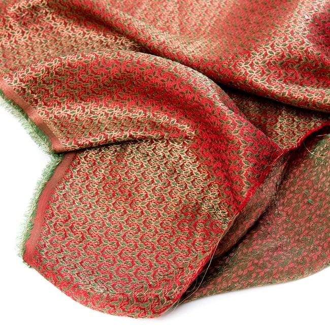 〔1m切り売り〕インドの伝統模様布〔幅約112cm〕 - レッド×グリーン 5 - フチの写真です