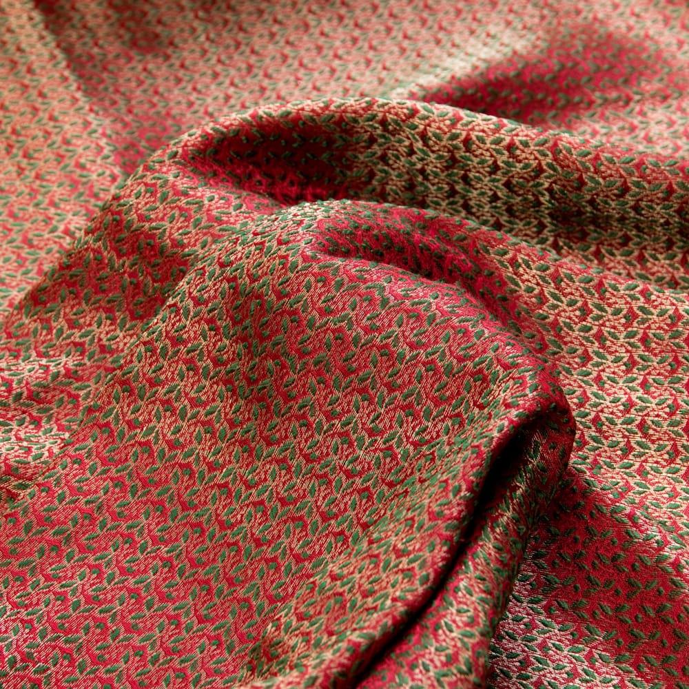 〔1m切り売り〕インドの伝統模様布〔幅約112cm〕 - レッド×グリーンの写真