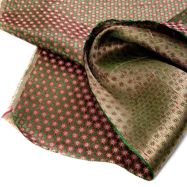〔1m切り売り〕インドの伝統模様布〔幅約111cm〕 - グリーン 5 - フチの写真です