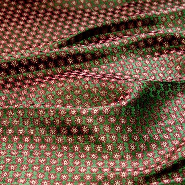 〔1m切り売り〕インドの伝統模様布〔幅約111cm〕 - グリーンの写真