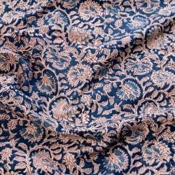 〔1m切り売り〕伝統息づくインドから 昔ながらの木版藍染の更紗模様布〔117cm〕 - 紺系