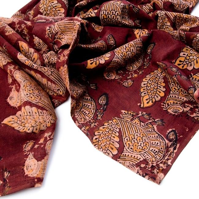 〔1m切り売り〕伝統息づく南インドから 昔ながらの木版染めピーコック柄布〔112cm〕 - 赤茶 4 - 縁の写真です