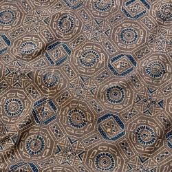〔1m切り売り〕伝統息づくインドから 昔ながらの木版染め伝統模様布〔115cm〕 - グレー