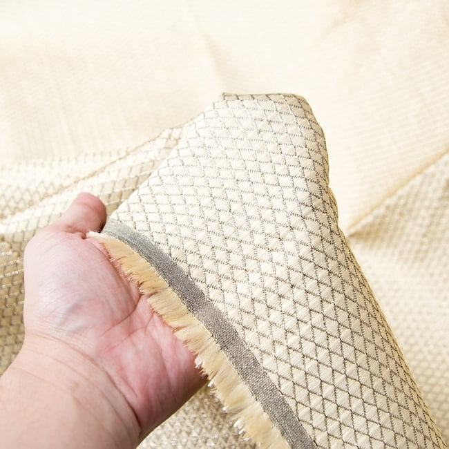 〔1m切り売り〕インドの伝統模様ゴールドプリント布〔幅約110cm〕 5 - 手に持ってみました。
