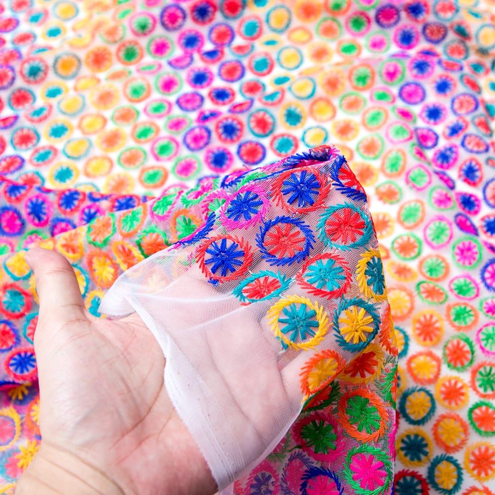 〔1m切り売り〕伝統模様刺繍のメッシュ生地布〔幅約108cm〕 5 - 手に持ってみました。