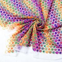 〔1m切り売り〕伝統模様刺繍のメッシュ生地布〔幅約108cm〕