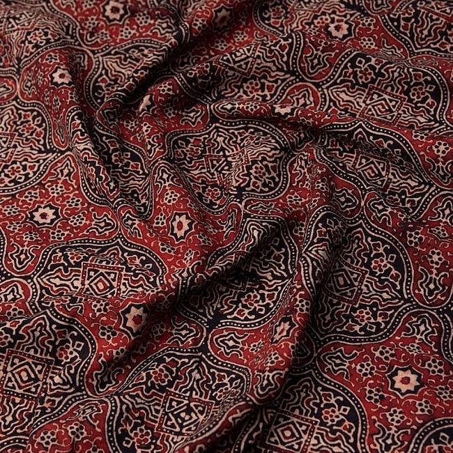 【4.8m 長尺布】伝統息づくインドから 昔ながらの木版染めアジュラックデザインの伝統模様布 1