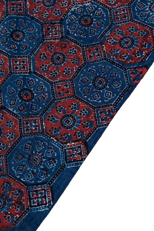 【4.8m 長尺布】伝統息づくインドから 昔ながらの木版染めアジュラックデザインの伝統模様布 4 - 縁の写真です