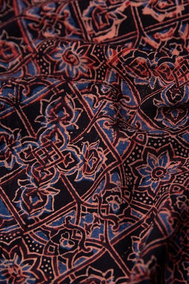 【4.8m 長尺布】伝統息づくインドから 昔ながらの木版染めアジュラックデザインの伝統模様布 2 - とても素敵な雰囲気です