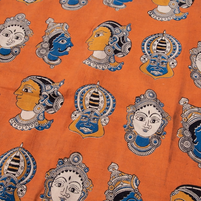 〔1m切り売り〕インドの伝統と不思議が融合 おもしろデザイン布〔115cm〕 - 南インドの古典舞踊カタカリ Kathakaliの写真
