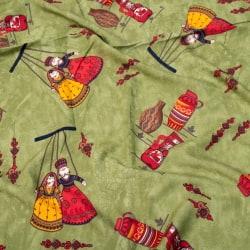 〔1m切り売り〕インドの伝統と不思議が融合 おもしろデザイン布〔109cm〕 - カトプトリ ラジャスタンの操り人形