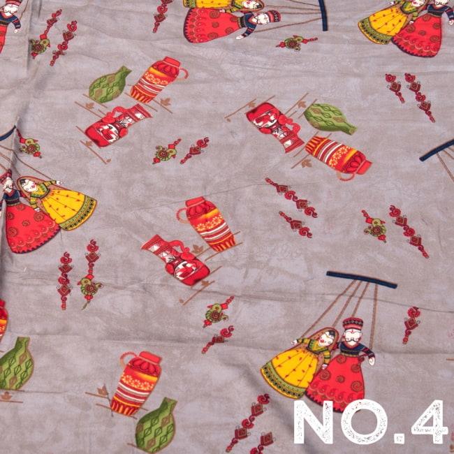 〔1m切り売り〕インドの伝統と不思議が融合 おもしろデザイン布〔109cm〕 - カトプトリ ラジャスタンの操り人形 12 - 【No.4】エレファントグレー