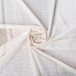 〔1m切り売り〕更紗やインドの伝統刺繍 アイレットレースのホワイトコットン布〔幅約99cm〕
