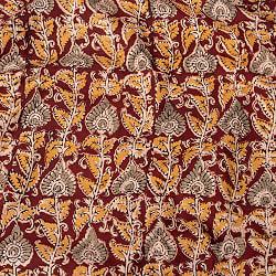 〔1m切り売り〕伝統息づく南インドから 昔ながらの木版染め更紗模様布 - えんじ系〔横幅:約116cm〕