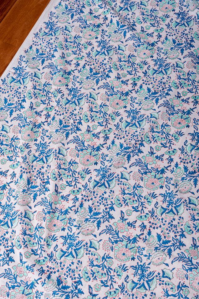〔1m切り売り〕伝統息づく南インドから 昔ながらの木版染め更紗模様布 - ホワイト系〔横幅:約115cm〕 2 - とても素敵な雰囲気です