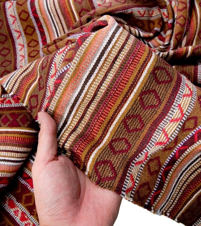 【最大の繋がった長さ1m】〔50cm切り売り〕ネパール織り生地-中厚手〔幅150cm〕 4 - 厚みも十分あるしっかりとした生地です
