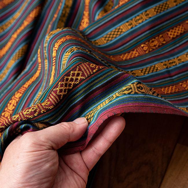 〔50cm切り売り〕ネパール伝統のコットン織り生地 薄手〔幅150cm〕 6 - 適度なしなやかさとハリがあります。