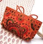 ラジャスタン刺繍ミラー付きバッグ - オレンジ