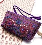 ラジャスタン刺繍ミラー付きバッグ - 紫