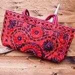ラジャスタン刺繍ミラー付きバッグ - ピンク