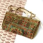 ラジャスタン刺繍ミラー付きバッグ - オリーブグリーン