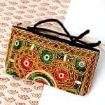 ラジャスタン刺繍ミラー付きバッグ - 黒色