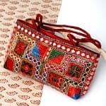 ラジャスタン刺繍ミラー付きバッグ - あずき色