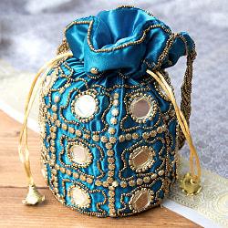 華やかなゴールドビーズ&ミラーワークの巾着ミニポーチ ミニバッグ - 水色