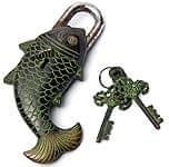 マツヤ 魚型からくり南京錠 - 黒色