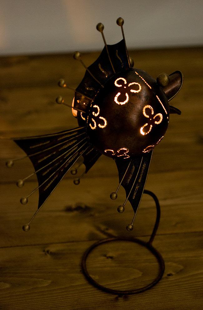 ノスタルジックキャンドルスタンド ウオミ ブルーの写真8 - 灯りを灯してみました。