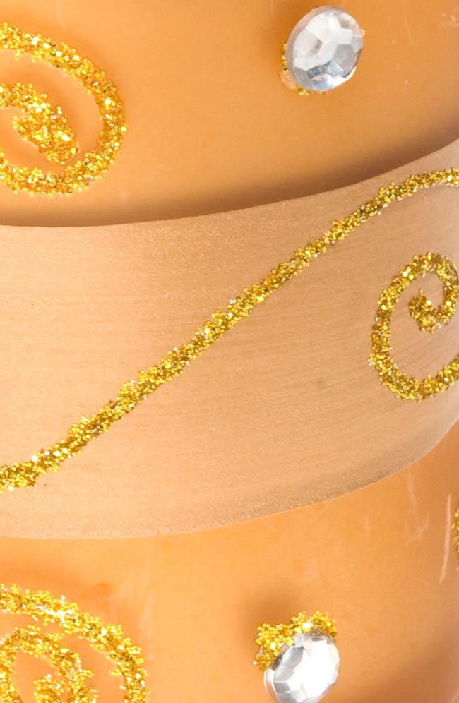 キラキラキャンドルグラス【高さ:6.5cm*横:5.5cm】-ゴールドの写真4 - アップにして撮ってみました。