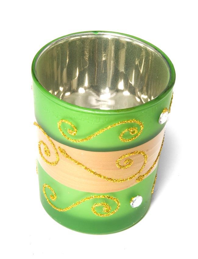 キラキラキャンドルグラス【高さ:6.5cm*横:5.5cm】-グリーンの写真2 - 斜めから撮ってみました。