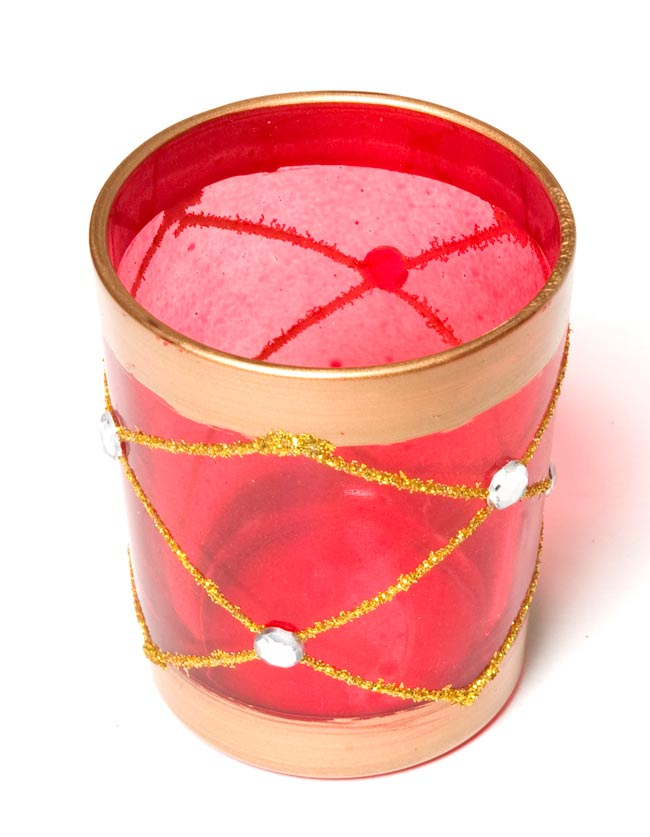 キラキラキャンドルグラス【高さ:6.5cm*横:5.5cm】-レッドの写真2 - 斜めから撮ってみました。
