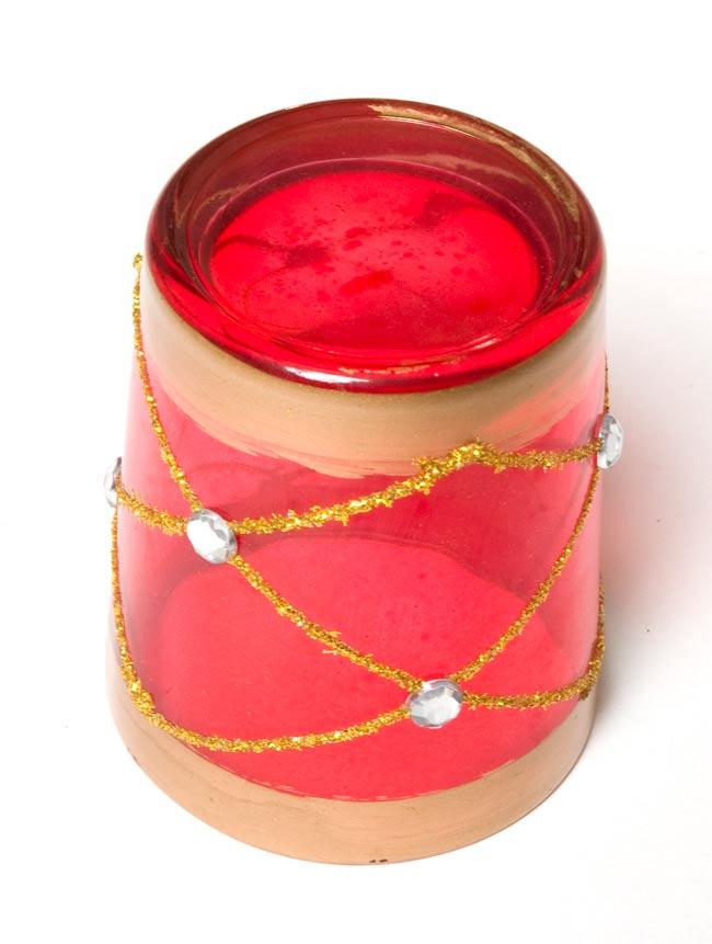 キラキラキャンドルグラス【高さ:6.5cm*横:5.5cm】-レッドの写真3 - 裏側はこんな感じです。