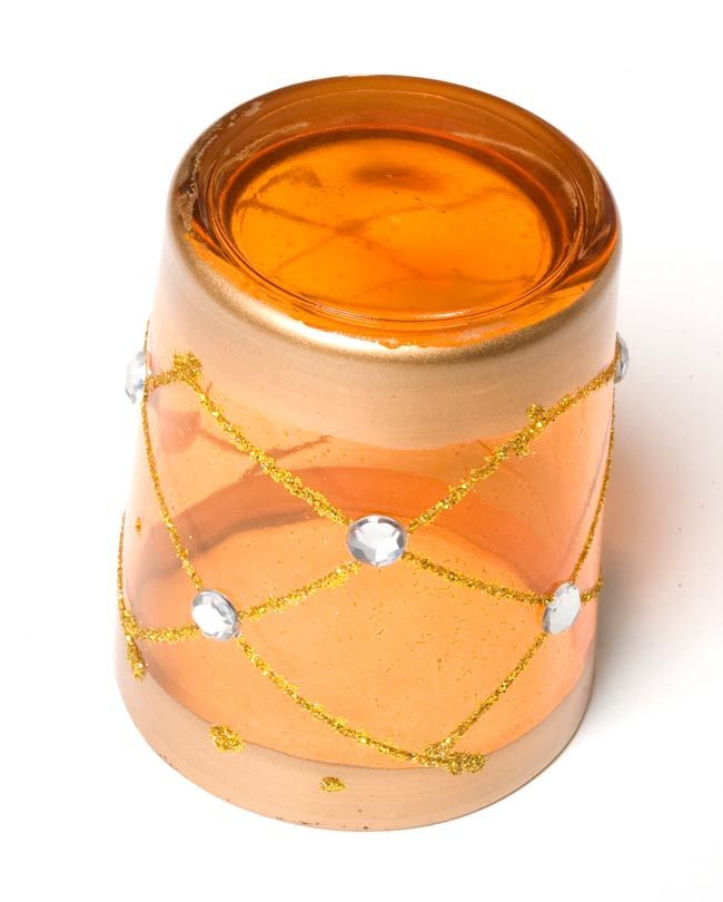 キラキラキャンドルグラス【高さ:6.5cm*横:5.5cm】-オレンジの写真3 - 裏側はこんな感じです。