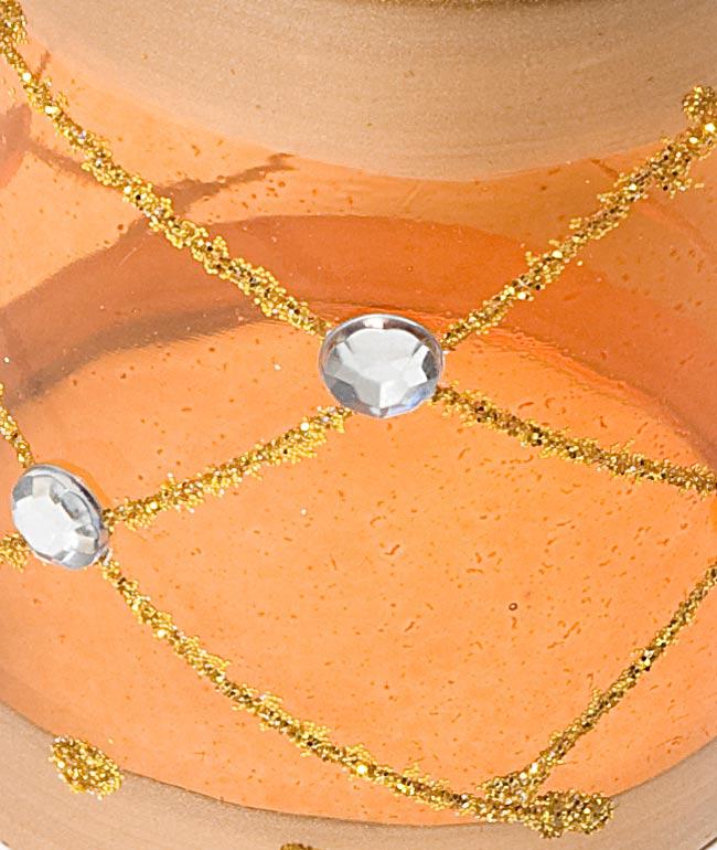 キラキラキャンドルグラス【高さ:6.5cm*横:5.5cm】-オレンジの写真4 - アップにして撮ってみました。