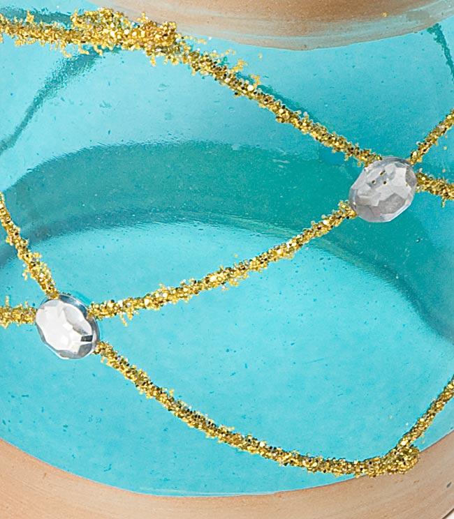 キラキラキャンドルグラス【高さ:6.5cm*横:5.5cm】-ブルーの写真4 - アップにして撮ってみました。