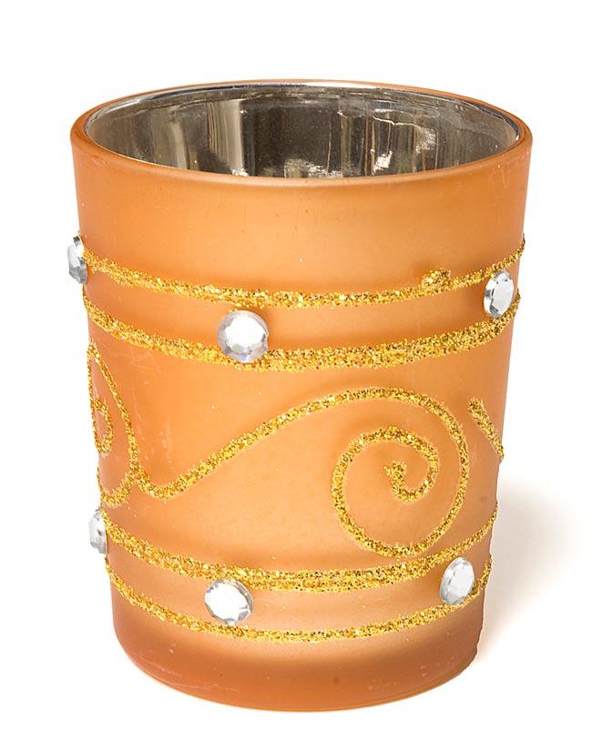 キラキラキャンドルグラス【高さ:6.5cm*横:5.5cm】-ゴールドの写真