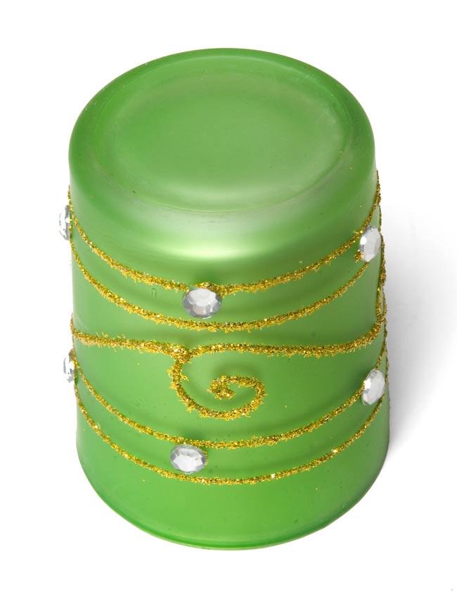 キラキラキャンドルグラス【高さ:6.5cm*横:5.5cm】-グリーンの写真3 - 裏側はこんな感じです。